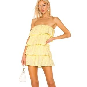 Tularosa Finley Yellow Eyelet Ruffle Mini Dress